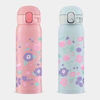 粉紫花 象印 One Touch 彈蓋運動水瓶